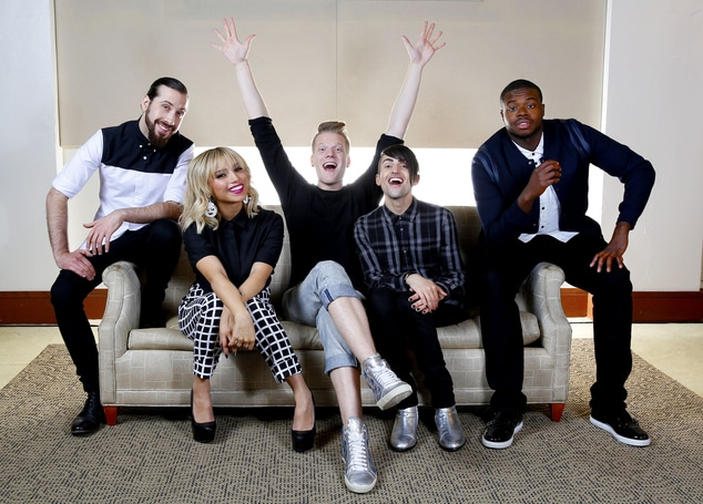 "In this Sept. 4, 2015, photo, Avi Kaplan from left, Kristie Maldonado, Scott Hoying, Mitch Grassi & Kevin Olusola of the group Pentatonix pose for a portrait at Sony Music Nashville in Nashville, Tenn., to promote their latest album, ""Pentatonix"" (Photo by Donn Jones/Invision/AP)"