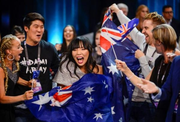 Australia's Dami Im and her team cheer in the Green Room during the Eurovision Song Contest 2016 semi-final 2 at the Ericsson Globe Arena in Stockholm, Sweden