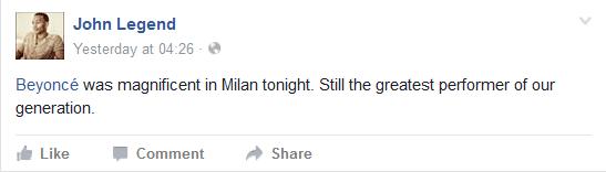 John Legend, Beyoncé facebook