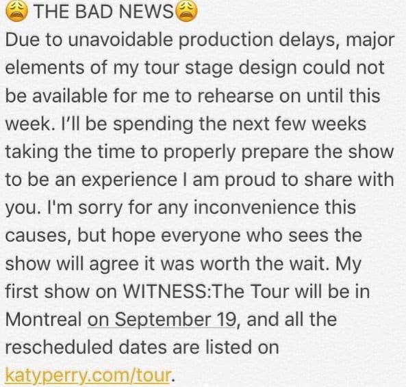 Katy Perry Tour Postponement