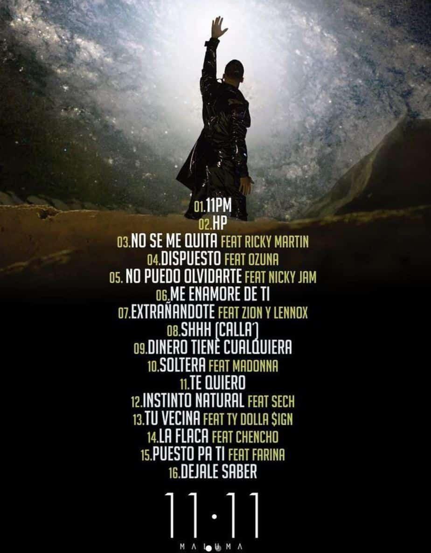 maluma tracklist