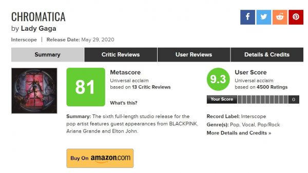 lady gaga metacritic